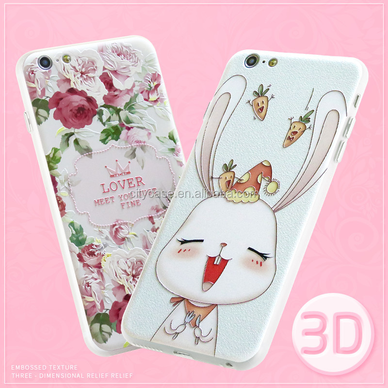 CITYCASE blank 2 in 1 sublimation phone case / 3D sublimation flowers TPU Phone Back Cover for iphone