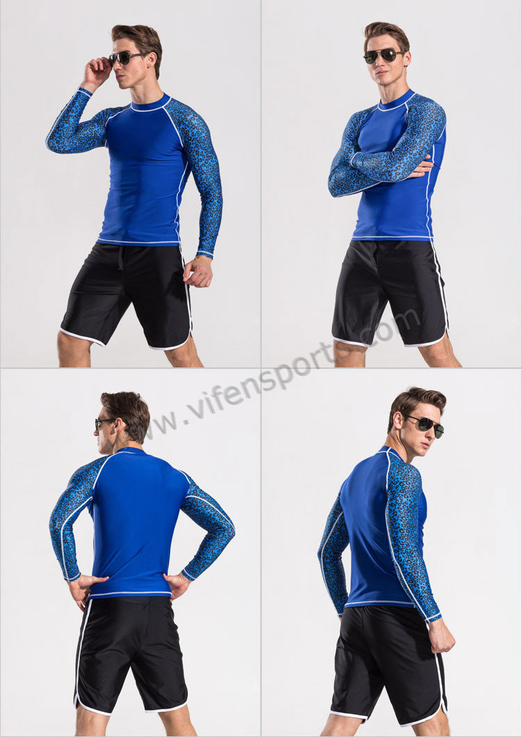mens nylon lycra rashgurad dive suit swimwear long sleeve blue yellow white with swim pants (5).jpg