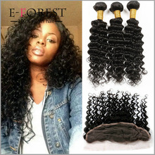 6A Malaysian Deep Curly With Closure 3 Bundles With Lace Frontal Closure Piece Virgin Human Hair 13x4 Lace Frontal With Bundles