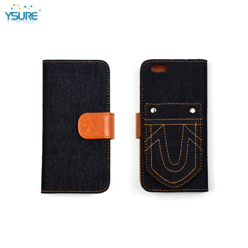 2015 New Design Unique Grid Pattern Denim leather Case For Sony Xperia Z1 LTE with special stand back up