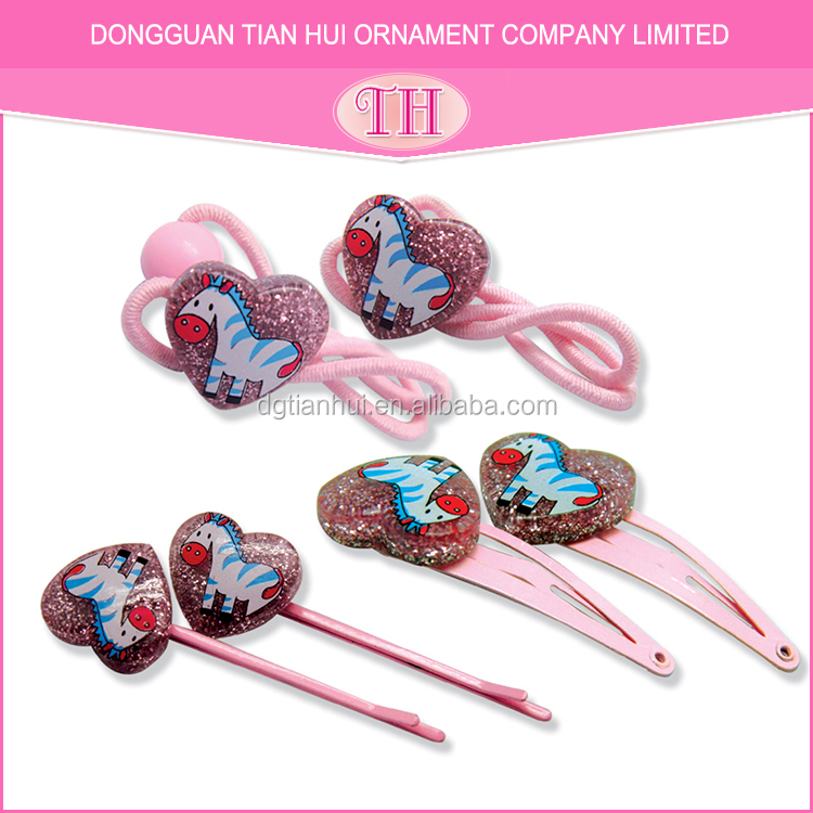 Wholesale indian hair accessories pink heart glitter resin design stretch hairband girl magnetic hair clip names