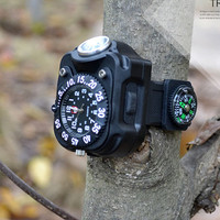 3 Modes New Watch Light Made In China LED Flashlight light watch Waterproof Wrist LED Torch Compass for Night Running,Fishing