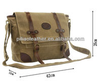 Durable Waxed Canvas Shoulder Bag With Long Strap/Waxed Canvas messenger bag