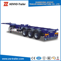 Tri-axles 2*20ft skeleton container semi trailer, 40ft container chassis in Singapore