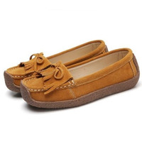 cheelon shoe suede leather moccasin casual women soft loafer tassel flat shoes