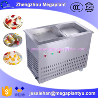 Durable instant two 2 pans stirring fry ice cream rolls machine for sale