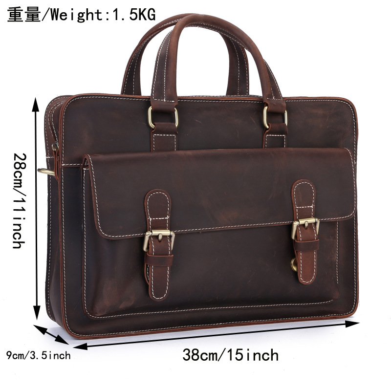 Brown Mens Business Genuine Leather Briefcase/Business Laptop Bag