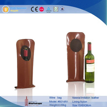 China leather wholesale wine bag,single bottle cardboard wine carriers