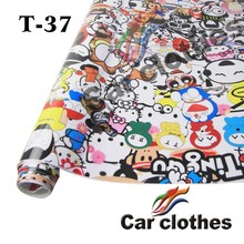 Car Clothes T-37 1.52*30m funny cartoon animated graffiti car bomb custom beautiful Vinyl car wrap decal sticker