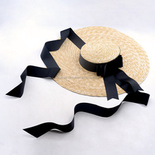 Fashion natural wheat straw wide brim boater floppy straw hat with rope