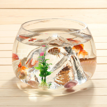 Unique shaped glass goldfish bowl mini round aquarium for Mini fish bowls