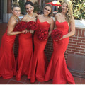 Red Long Mermaid Bridesmaid Dresses Floor Length Sweetheart Brides Maid Dresses Satin Wedding Party Dresses