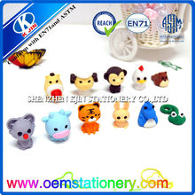 2016 Mini Animal Shaped Custom Rubber Fancy Cute 3D pencil eraser For Gift