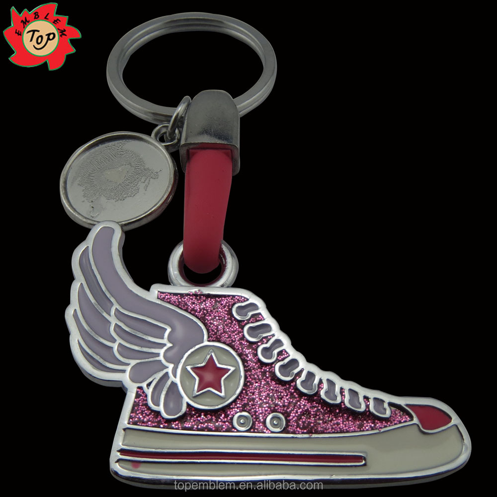 Shoes shaped 2016 Hot selling custom logo metal keychain