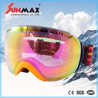 Custom design mirror lens skiing glasses, magnet skiing goggle, racing ski googles with great price