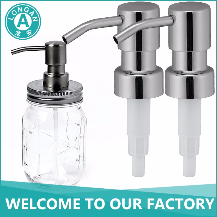Mason jar soap dispenser with stainless steel lotion pump for round shape glass bottle