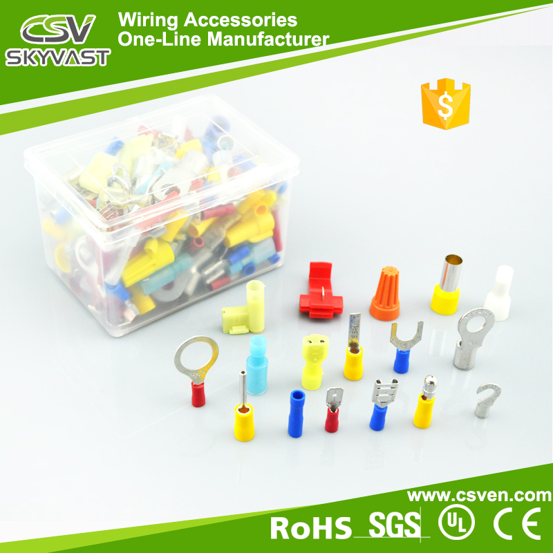 Free sample cable lug terminal cover red yellow blue wire press terminal