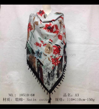 square scarf with fringe fashion scarf 20170817 110*110cm SATIN COTTON scarf