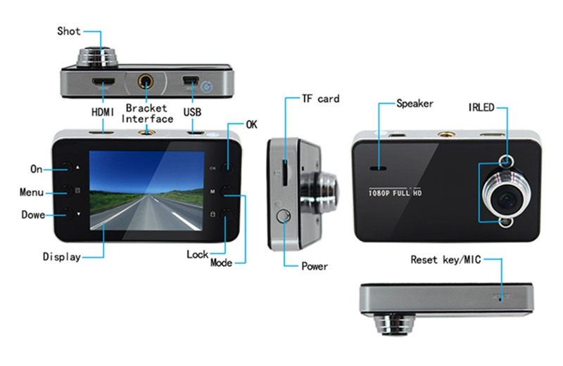 "K6000 <strong>G</strong>-sensor HDMI Motion 2.7"" TFT FULL HD <strong>1080P</strong> with Night Vision Cheap car drive video recorder"