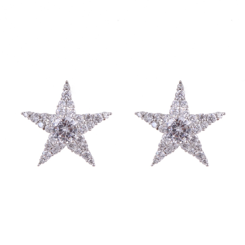 Hot SALES Five-pointed Star Cubic Crystal Zircon Stud Earrings