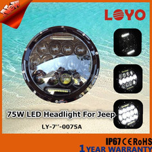 7 inch round led headlight 12v 24v 75w led headlamp for jeep wrangler