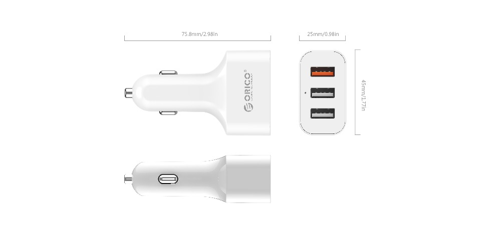 ORICO QC2.0 3 Port USB Car Charger for Smartphones and Tablets (UCH-2U1Q)