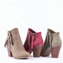 Alibaba wholesale cheap fashion design women shoes ankle suede woman heels boot