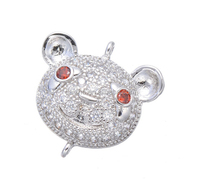 Fashion 925 sterling silver gold,rose gold rhodium micro pave cz cute animal connector pendent for necklace,bracelet