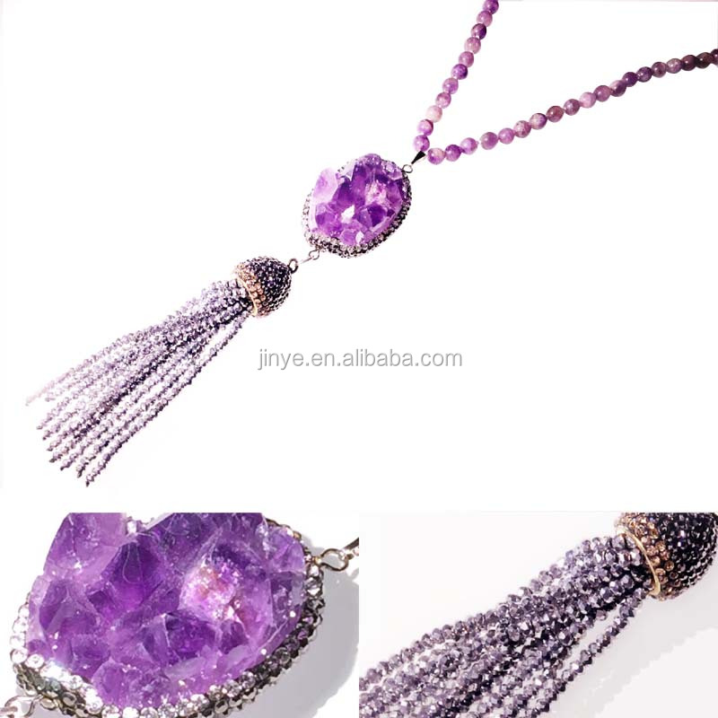 Hand Knotted Amethyst Beaded Druzy Tassel Necklace