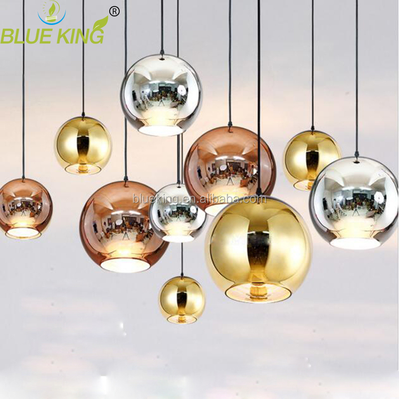 Modern europe globe copper gold led pendant light glass hanging decorative lamps for stair,canteen