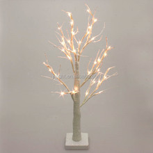 Battery Operated White Glitter Twig Tree with Warm White LED/Christmas New Year Fabulous LED Warm White Twig Tree Lights