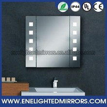 Wall hung led illuminated bathroom modern glass revolving display cabinet