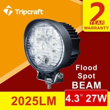Factory direct 4.3 inch led spotlight 10-30v 27w led work light for truck heavy duty tractor