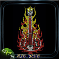 Rhinestone Transfer Guitar With Flame Motif