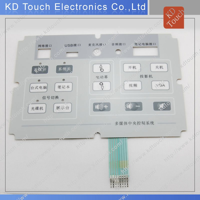 Metal Dome Embossed Gloss Membrane Keypad Circuit with Male Pins for Multimedia System