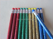 HB glitter color wooden pencil with color eraser non-toxic