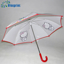 low price metal umbrella stick kids umbrella with hello kitty printed