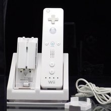 Dual Double Twin blue light charger power docking station with 2pcs 2800mah batteries for wii remote