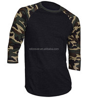 China supplier made 100% cotton men's camo colors sleeves t shirts