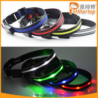 Adjustable LED Dog Collar with CE&ROHS TZ-PET6100 Fashion Design Dog Collars