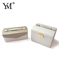 factory supply high quality professional flat pu leather velvet cosmetic case jewelry box