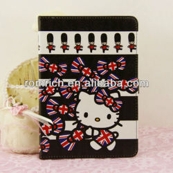 Black UK Flag Hello Kitty Leather case for Apple ipad mini