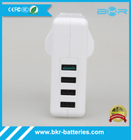 US/ AU/ EU/ UK Plug 4 Port USB Portable Home Travel Wall Charger QC2.0 rapid charger Power Adapter(white)