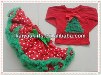 New Arrivals! Christmas Tree Tee Long Sleeves Shirt Girls Red Polka Dots Pettiskirt,2013 fashion baby girl christmas outfit