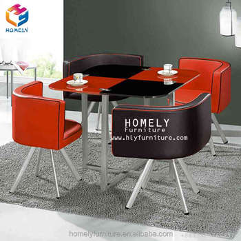 Factory Directly Sell Warranty Modern Tempered Glass Table Top Stainless Steel Base Dining Round Table And Chair Set