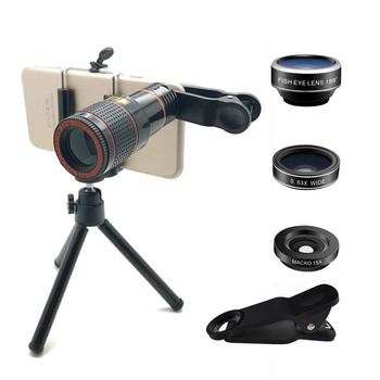 Professional manufacturer 4 In 1 12X Zoom Telephoto +Fish Eye + Macro +Wide Angle Cell Phone Camera Lens Lens Kit