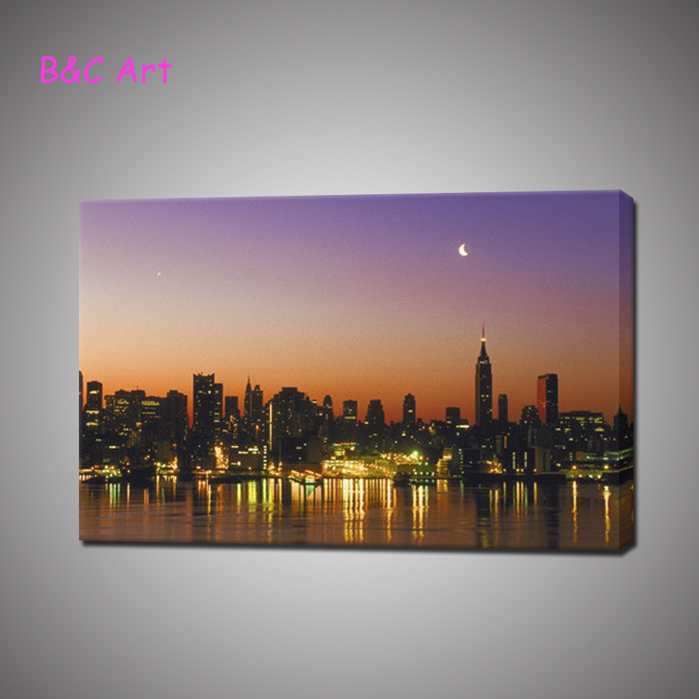 Beautiful printed painting bright city night scenery home wall decoration on canvas