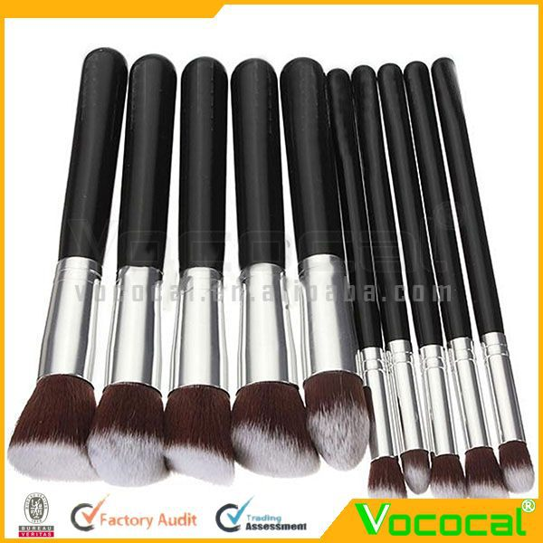 10PCS Professional Makeup Brush Tools Superior Cosmetic Brush Set Black+Silver