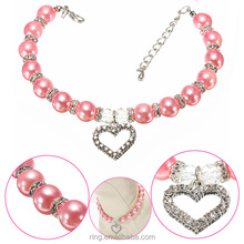 Xmas hot sale animal gift cute pink color fake pearl bead heart charm pet necklace