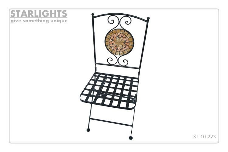 Fashionable metal mosaic table and chair for garden